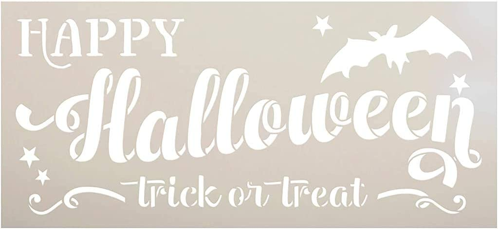 Happy Halloween Stencil by StudioR12   DIY Bat Trick or Treat Home Decor   Craft & Paint Wood Signs   Reusable Template   Select Size (12 x 5.5 inch)