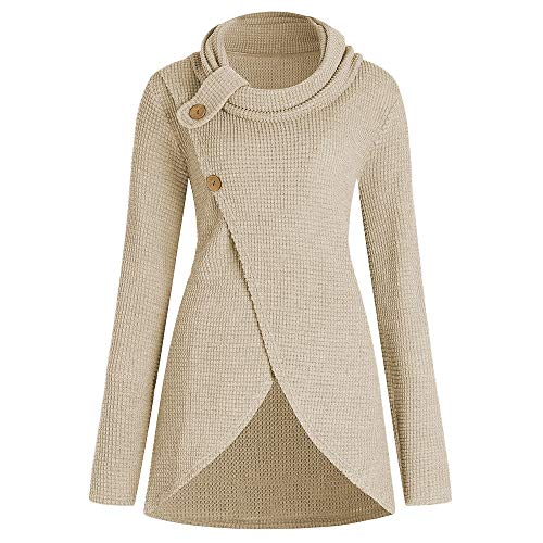 KCatsy Pleated Collar Large Size Front Stitch Sweater Beige]()