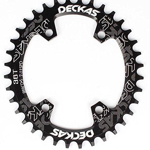 LOLTRA DECKAS Round Oval Aluminium CNC 96BCD MTB Bike Crankset Wide Narrow Chainring for SLX M7000 /XT M8000/ M9000 Bike Crankset (Black, 36T Round)