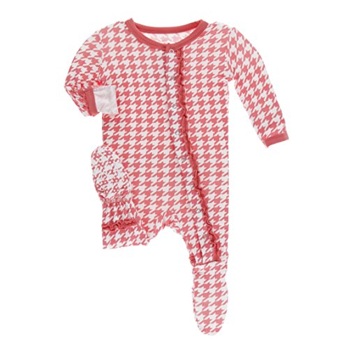 Kickee Pants Little Girls Print Muffin Ruffle Footie with Snaps - English Rose Houndstooth, Newborn ()
