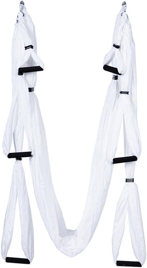 WULAU Hamaca de Yoga de Nailon,Hamaca Correa Volar para Yoga Pilates aérea,250 * 150CM, Teniendo 200KG, White