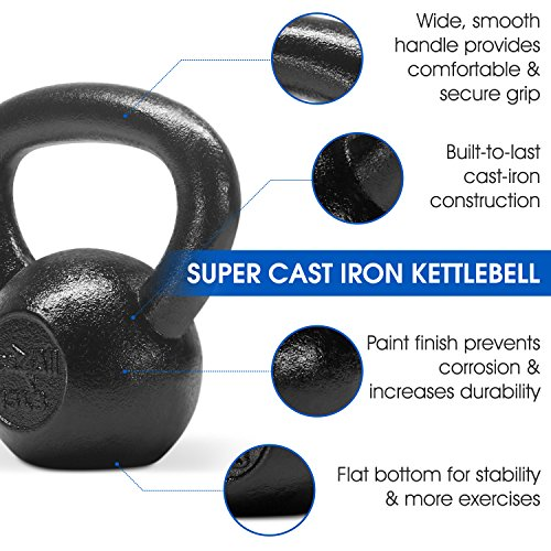 Yes4All Solid Cast Iron Kettlebell Weights Set – Great for Full Body Workout and Strength Training – Kettlebell 15 lbs (Black) by Yes4All (Image #3)