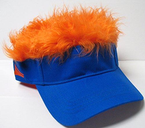 The Original Flair Hair Visor, Blue Visor, Orange Hair (Hats With Hair Attached)