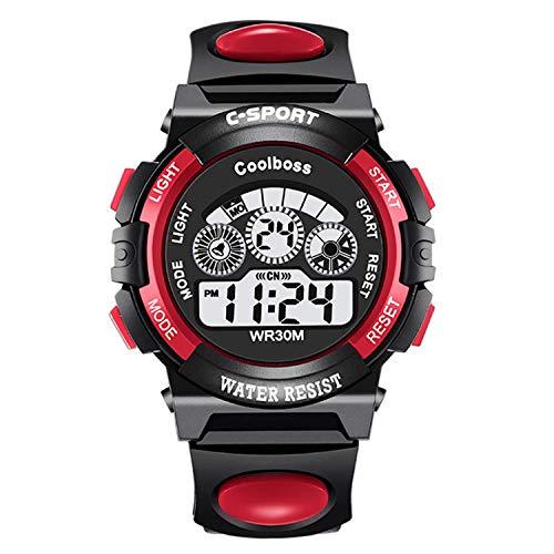 Tenka Kid Watch for Boy Girl LED Multi Function Fashion Sport Outdoor Digital Wristwatch Dress Waterproof Alarm red