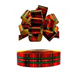Christmas Bows & Ribbon for Presents - Set of 20 Pull Bows with 50 Yard Roll of Ribbon, Red Green Plaid