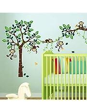 decalmile Aap Klimmen Boom Muurstickers Jungle Dieren Kinderen Muurtattoo Baby Kinderkamer Slaapkamer Speel Kamer Wanddecoratie (5 Apen)