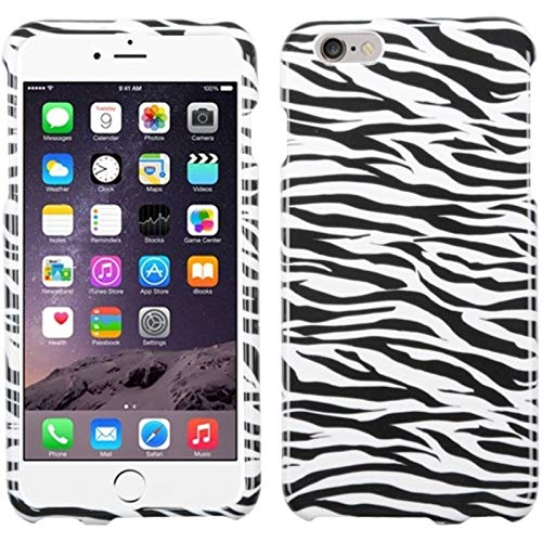 Insten Zebra Rubberized Hard Snap-in Case Cover Compatible with Apple iPhone 6 Plus/6s Plus, White/Black