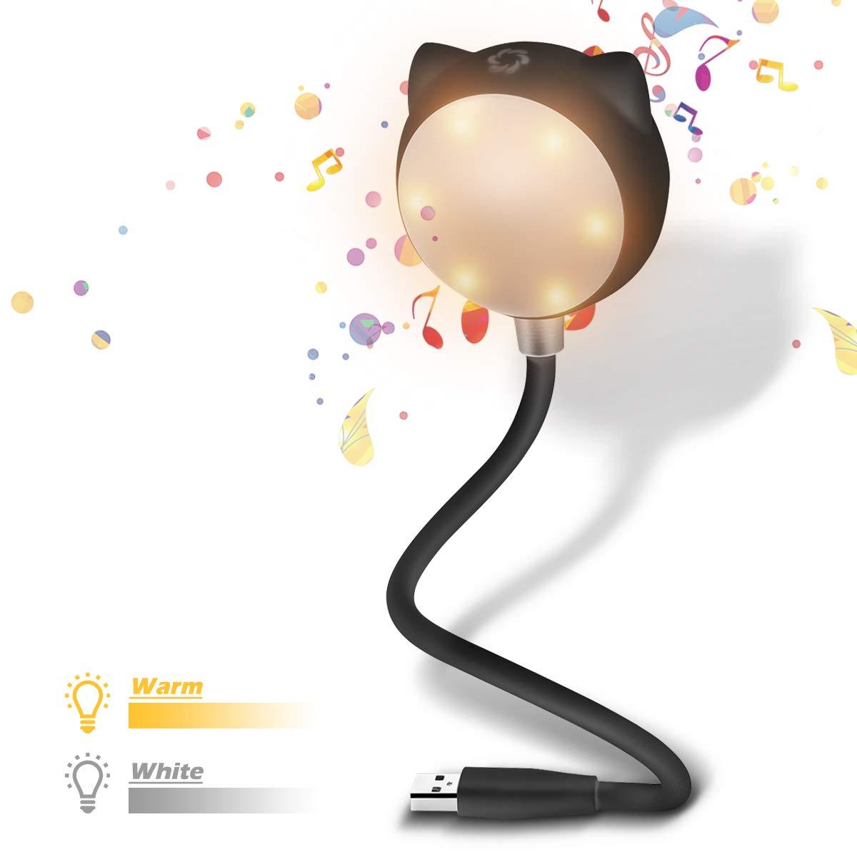 ELEGIANT USB LED Leselampe, dimmbar warmweiß Touch-Control Leseleuchte Bettlampe Nachtlicht mit BT Lautsprecher,Flexibel Schwanenhals Nachttischlampe Schreibtischlampe für Laptop PC Notebook Camping