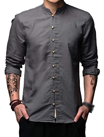 6b4bf423f2 GAGA Men s Vintage Stand Collar Chinese Style Cotton Linen Casual Shirt Top  at Amazon Men s Clothing store