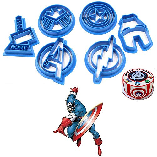 Anyana 6pcs set Superhero Captain America cartoon biscuit Cutter fondant pastry cookie impression stamp Cpt Iron Man Avengers Thor Flash Shield sugar bakery (Cookie Marvel Cutters)