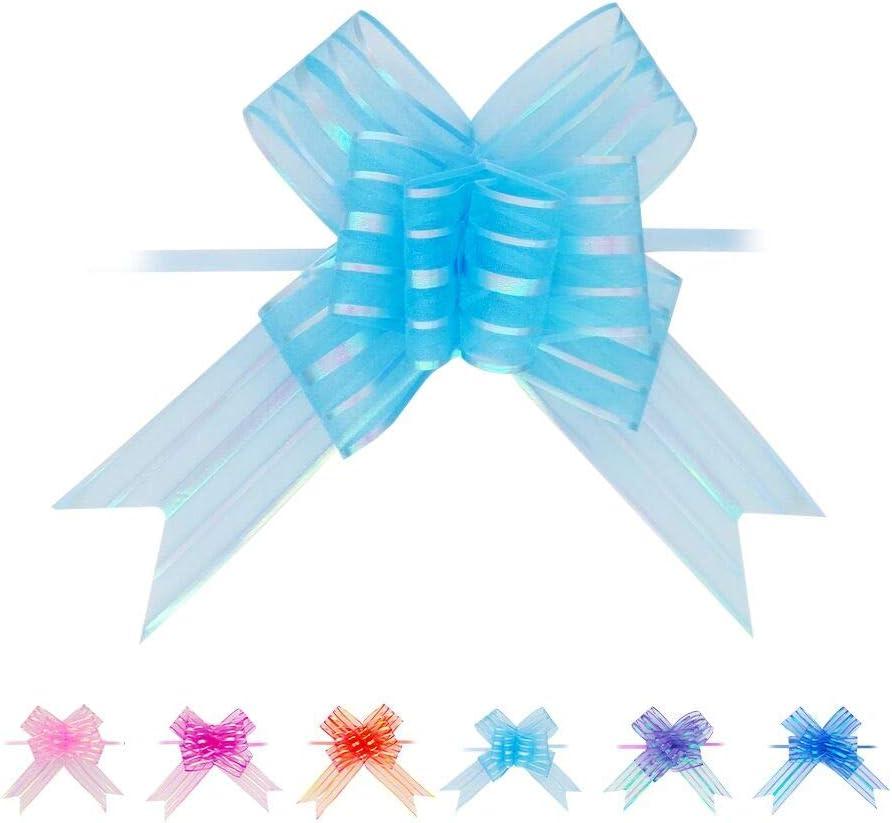 Lazo para Regalo 20 Piezas Grande 50mm para Coche Boda Cumpleaños Decoraciones para Fiestas Azul Claro Pull Bows: Amazon.es: Hogar