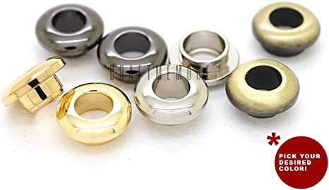 CRAFTMEmore Metal Push Snap Together Grommet Flat Surface Snap Rings Eyelet O-Rings Purse Loop Easy Installation Pack of 4 Complete Rings 11mm , Gold 7//16