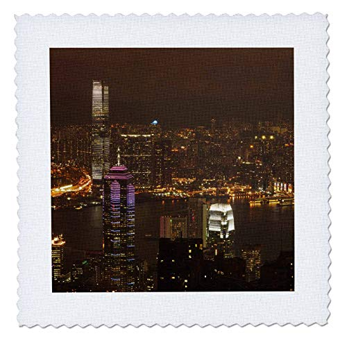 3dRose Danita Delimont - Hong Kong - Kowloon, Victoria Harbor, Central, from Victoria Peak, Hong Kong. - 6x6 inch quilt square (qs_312605_2)
