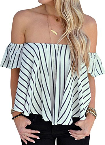 Sheshares Women Off Shoulder Bell Sleeve Tops Smocked Chiffon Blouse Light Shirt (L, Zebra)