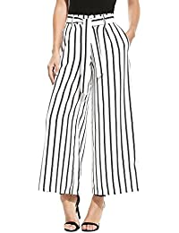 06d1b91865 Zeagoo Women's Super Comfy Stripe Flowy Wide Leg High Waist Belted Palazzo  Pants Capris