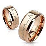 STR-0200 Heartbeat Laser Etched Stainless Steel Rose Gold IP Band Ring (6)