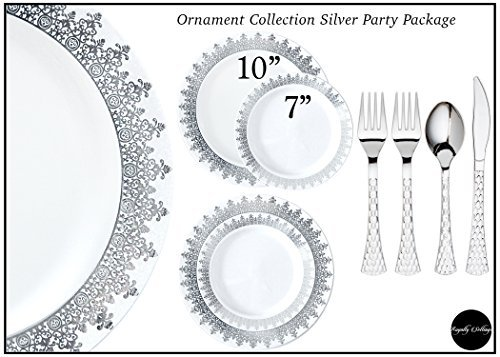 Royalty Settings Ornament Collection Premium Plastic Plates for Weddings for 40 Persons, Includes 40 Dinner Plates, 40 Salad Plates, 80 Forks, 40 Spoons, 40 Knives, White with Silver Rim -