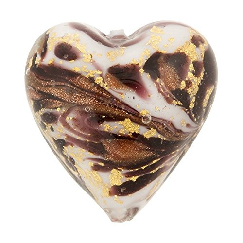 Heart 13mm Gold Foil Murano Glass Bead Chocolate and Aventurina, Marmo -