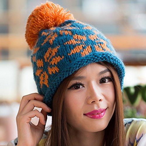 del Copo Maozi de Bola Lana Sombrero Europa Nieve Opcional Surge BLUE Color Larga Knit wrrtPAxEq