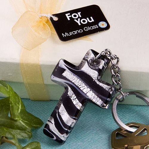 <em>Murano Glass Collection</em> cross design key chain favors, 1 by Fashioncraft Collection Cross Key Chain