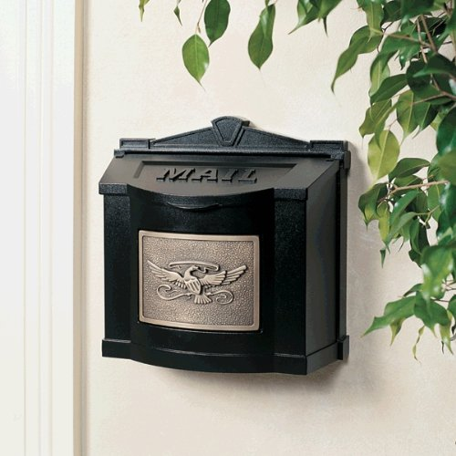 Gaines Manufacturing Black With Antique Bronze Eagle Accent Wallmount Mailbox ()