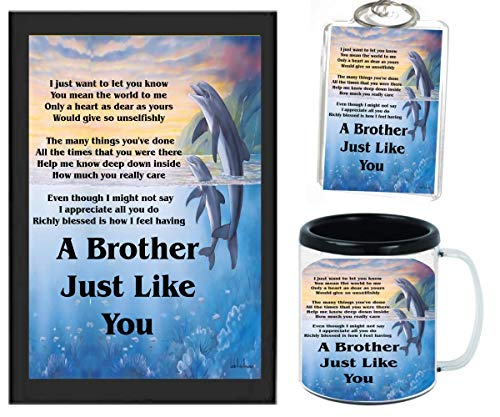 A BROTHER JUST LIKE YOU POEM | JUST IN TIME FOR CHRISTMAS GIFT | 11OZ BLACK | COFFE CUP & PHOTO KEYCHAIN ARTWORK MUG BUNDLE