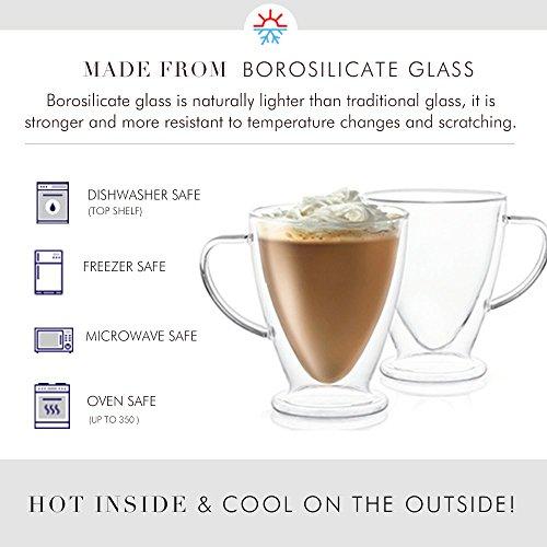 JoyJolt Declan Irish Glass Coffee Cups Double Wall Insulated Mugs Set of 2 Latte Glasses, 15-Ounces. by JoyJolt (Image #2)