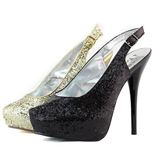 Scarpe Da Donna Con Tacco Alto A Punta Roune E Glitter Con Cinturino Alla Caviglia E Cinturino Alla Caviglia