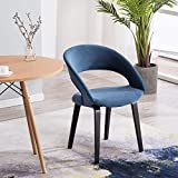 YIMIGA Dining Chair with Open Back – Blue Mid Century Modern Arm Chairs, Black Wood Legs, Velvet Upholstered Fabric for Kitchen Bedroom Dining Room Review
