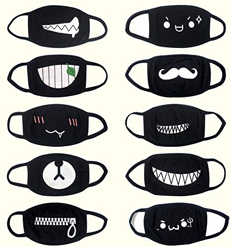 Mouth Face Mask 10Packs Lovely Pure Cotton Black Dust Mask Animation Cotton Mask for Men and Women Suitable for Use By Teenagers