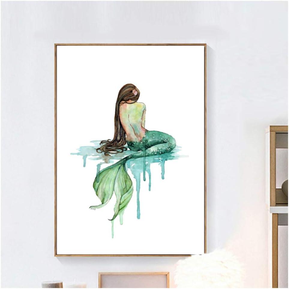 GIRDSS Chica Princesa Pared Arte Lienzo Pintura nórdica Carteles e Impresiones Abstracto Pared Cuadros decoración-50x70cm sin Marco