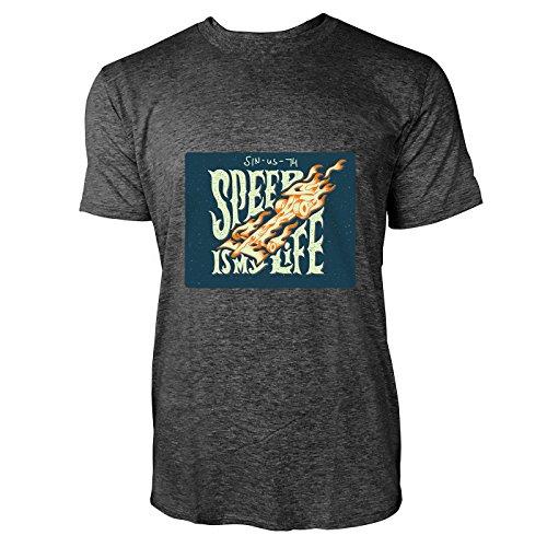 SINUS ART® Biker Motiv Speed Is My Life Herren T-Shirts in dunkelgrau Fun Shirt mit tollen Aufdruck