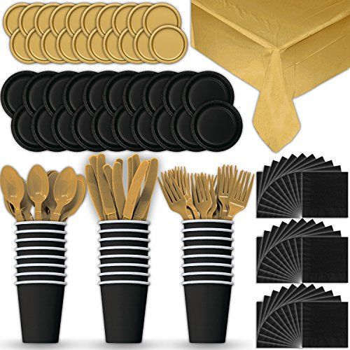 Paper Tableware Set for 24 - Black & Gold - Dinner and Dessert Plates, Cups, Napkins, Cutlery (Spoons, Forks, Knives), and Tablecloths - Full Two-Tone Party Supplies Pack