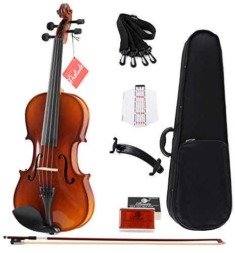 Aileen Solidwood Ebony Violin Outfit with Case, Rosin, Strings, Shoulder Rest, Fingerboard Sticker (Violin Inlay Music Box)