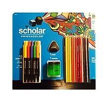 36 Pieces Scholar Prismacolor Colored Pencils, Eraser, Sharpener, Bullet Markers, Brush Markers by Prismacolor