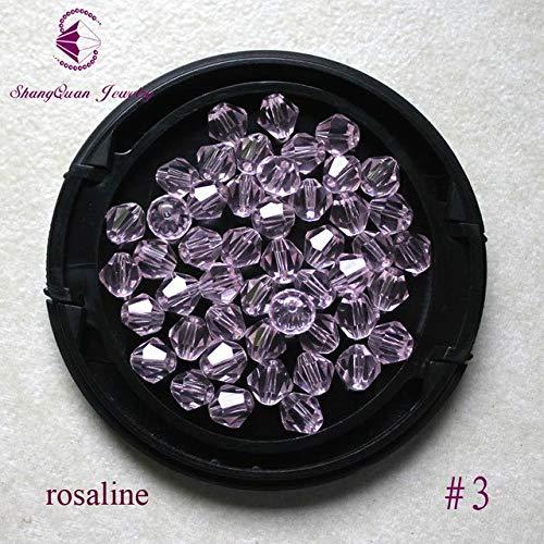 Calvas Fashion Jewelry Beads Wholesale Grade AAA 5301 6mm Crystal Bicone Beads - (Color: 03 Rosaline, Item Diameter: 6mm)