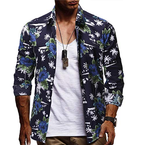 (2019 New Men Button Down Shirts,Long Sleeve Casual Hawaiian Print Dress Shirt (XL, Dark Blue))