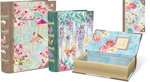 Punch Studio Chinoiserie Garden Set Of 3 Large Nesting Book Boxes