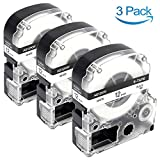 12Mm Label Printer - 3-Pack Compatible Epson LabelWorks LK-4WBN SS12KW Label Maker Tapes Fits The LabelWorks LW-300 LW-700 LW-400 LW-600P Label Makers, 12mm 1/2 inch Black on White Standard LK Tape, 26.2 Feet