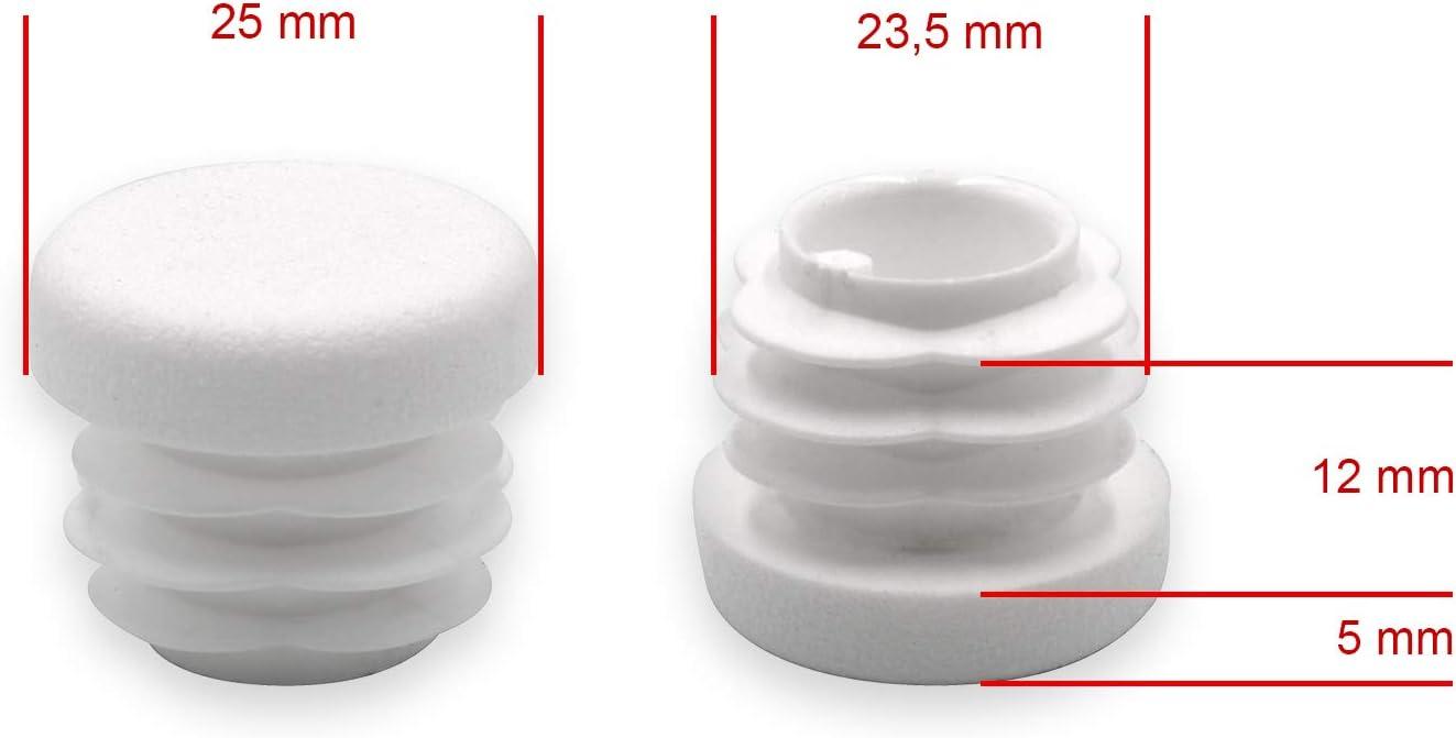 20/unidades rohrstopfen redondo Di/ámetro 25/mm Blanco