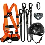 Fusion Climb Tactical Edition Kids Commercial Zip Line Kit Harness/Dual Lanyard/Carabiner/Trolley/Helmet Bundle FTK-K-HLLCTH-03