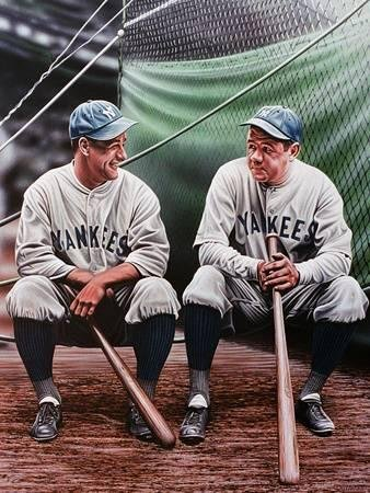 Buyartforless Darryl Vlasak 32x24 Painting Print on Wrapped Memorabilia New York Yankee Legends Babe Ruth and Lou Gehrig Canvas Wall Art Décor Multicolored