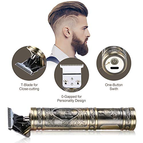 BESTBOMG Pro Li Outliner Grooming Kit Rechargeable Cordless Hair Clipper Close Cutting T-Blade Professional Hair Clipper for Men Zero Gapped Detail Beard Shaver