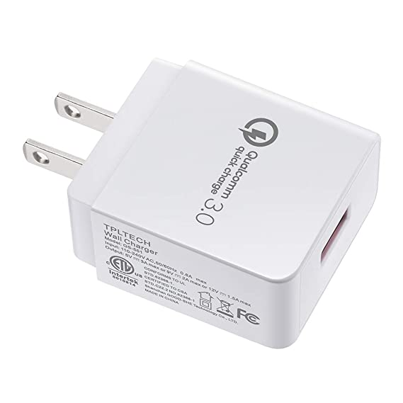 newest e934d 11ead Quick Charge 3.0 USB Wall Charger Power Adapter 18W Compatible iPhone  7/6/Plus, iPad Pro/Air 2/Mini, Samsung Galaxy S9/ S8/Plus, Note 8, LG G6/7,  ...