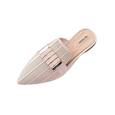 ANJUNIE Women Mules Heels Loafers Slip-Ons Flat Soft Sandals Office Lady Work Slides Shoes: Clothing