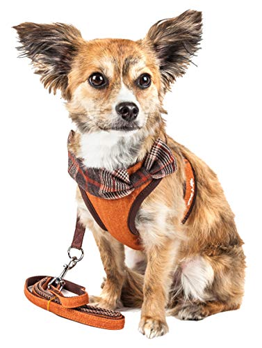 Pet Life Luxe 'Pawsh' 2-in-1 Mesh Reversed Adjustable Dog Harness-Leash W/Fashion Bowtie, X-Small, Orange