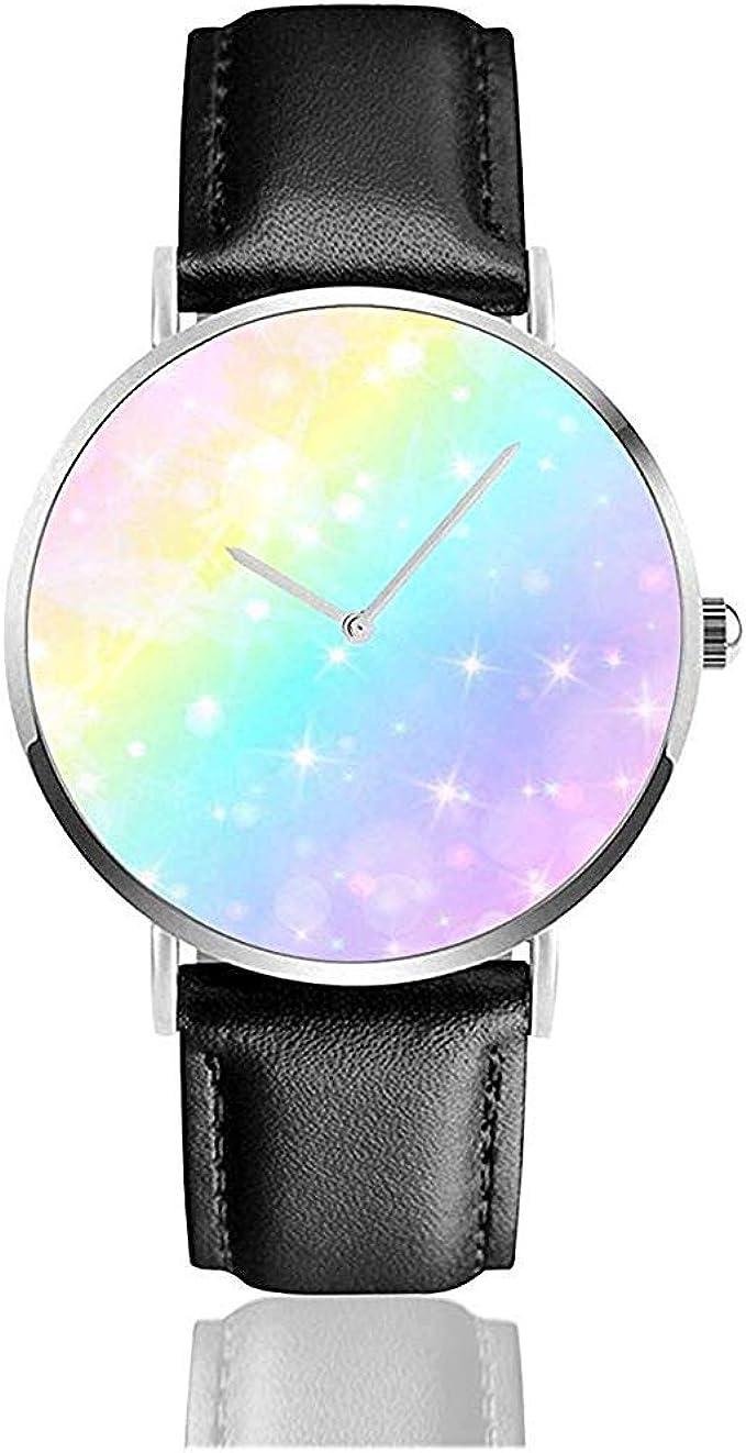 Relojes De Pulsera Cuarzo Holográfico Color Pastel Galaxy Rainbow Acero Inoxidable Correa De Cuero Relojes Relojes De Pulsera: Amazon.es: Relojes