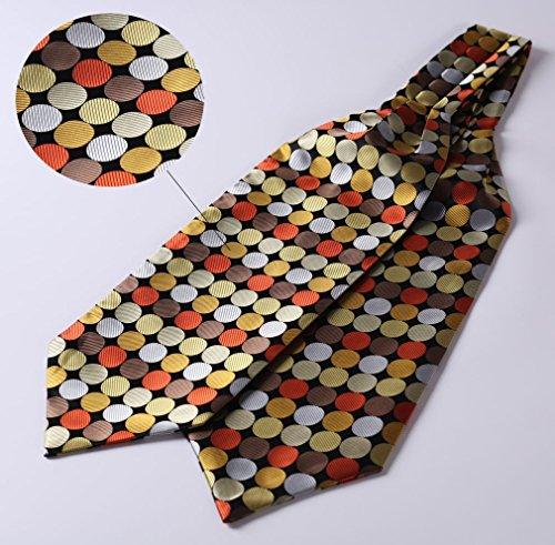 Jacquard Cravat Handkerchief Black Woven Party Dot BIYINI Men's Orange Polka Ascot Tie xOYHwnw4qC