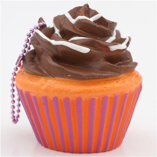 [Brown icing orange purple base cupcake squishy charm cellphone charm kawaii] (Cute Halloween Decorated Cupcakes)
