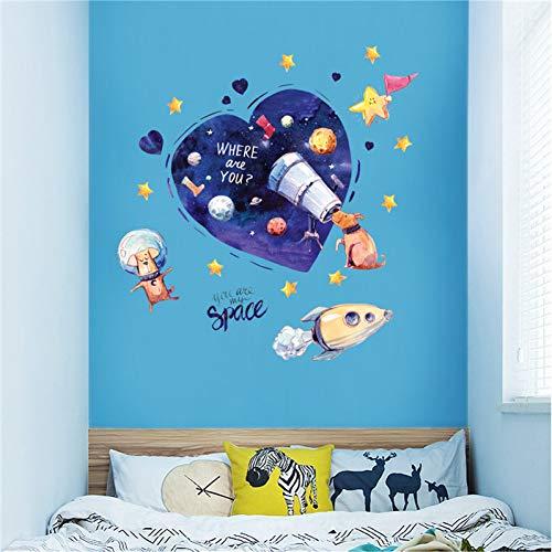 ZYBKOG Wall Sticker Cartoon Dog Space Dream Wall Sticker Puppy Telescope Space Planet Rocket Kids Room Baby Bedroom Decoration Removable Stickers